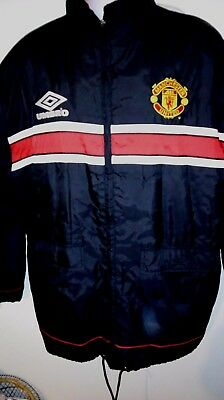 36a2bab025 Vintage Manchester United Sharp Umbro Padded Waterproof Jacket Coat. Size  Large.