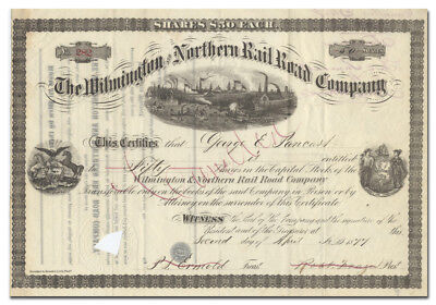 Wilmington and Northern Rail Road Company Stock Certificate (1877)