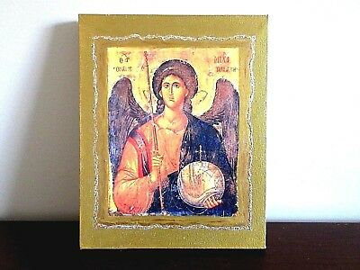 """St. Michael the Archangel Byzantine Icon on Canvas 8"""" x 10"""" Christian icons art"""