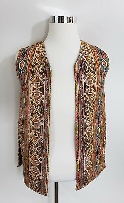 Vintage 1970's Tapestry Rug Vest Sz Medium Bohemian Boho Hippy Western Authentic
