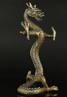 Collection Chinese Totem Sacred Animal Dragon Circling Old Bronze Statue