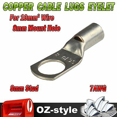 10X Copper Cable Lugs to Suit 10mm² Wire with M8 Stud Hole Dual Battery 4WD 12V