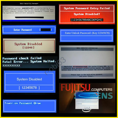 Dell, Hp, Acer, Sony, Fujitsu, Bios Password Unlock Service (1D3B 1F66 6Ff1)