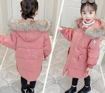 Girls Coat Winter Puffa Jacket Hooded School Warm Quilted Kids Fur Parka