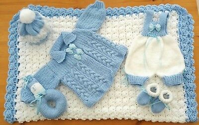 Mimsy*Newborn Beautiful Baby Boys Layette*Reborn Doll Hand Knitted Clothes Set*