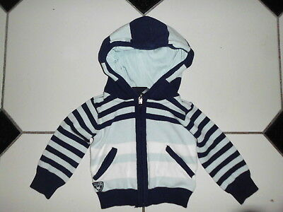 Sweat Garcon A Capuche Marque Lcee A Rayure Blanche Et Bleu Taille 62