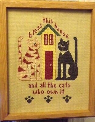 """Cat Decor Finished Needlepoint Picture~BLESS THIS HOUSE...CATS WHO OWN IT, 9x11"""""""
