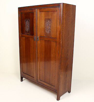 Antique Vintage Carved Oak Wardrobe Gents Compactum Arts Crafts Rustic Country