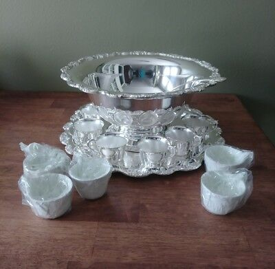 Towle Silverplate Pedestal Floral Punch Bowl Set With Tray, 11 Cups & Ladle