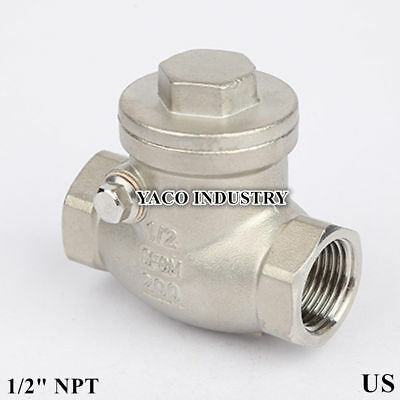 "Swing check valve 1/2"" inch npt stainless steel water oil gas"
