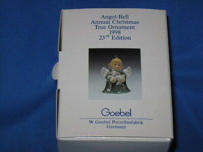 1998 Goebel ANGEL BELL ORNAMENT Yellow with Lamb in Box