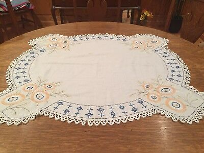 """Vintage Cotton Hand Embroidered Table Topper - 43"""""""