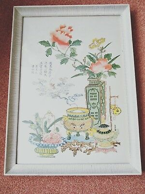 very pretty and interesting Chinese print on silk
