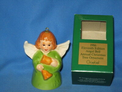 Goebel 1986 Angel Bell Christmas Ornament 11th in Green