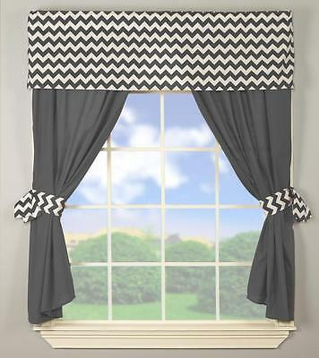 Baby Doll Bedding Chevron Window Valance  Grey