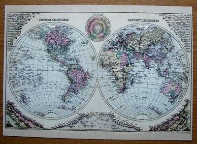 Map Collectable Beautiful  Reproduction On Card Of Western & Eastern Hemispheres