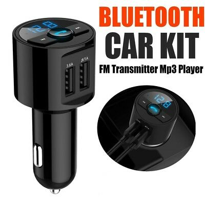 Dual USB Bluetooth In-Car MP3 FM Wireless Transmitter LCD Charger Kit Handsfree