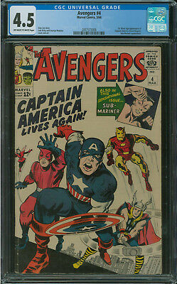 Avengers #4 CGC 4.5 1st silver age appearance of Captain America 1964