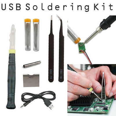 5V 8W Mini Portable USB Power Electric Soldering Iron Kit Pen Tip Touch Switch