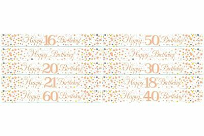 9ft Banner Sparkling Fizz Birthday WHITE & ROSE GOLD  Holographic Choose Age