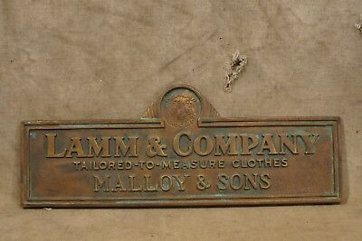 Antique Lamm & Co. Tailored Clothes Bronze Sign Mallory & Sons State Center IA