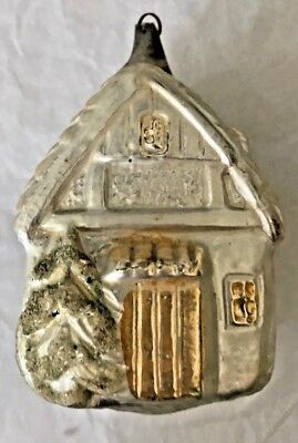 Antique Vintage Large House Frosted Trees German Glass Christmas Ornament
