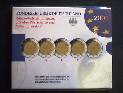2009 - 5 x 2-Euro  WWU spiegelglanz PP proof ADFGJ original VfS Set in Folie