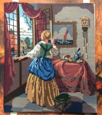 Vtg Completed Tapestry Needlepoint Renaissance Lady By Window Lovely Colours.