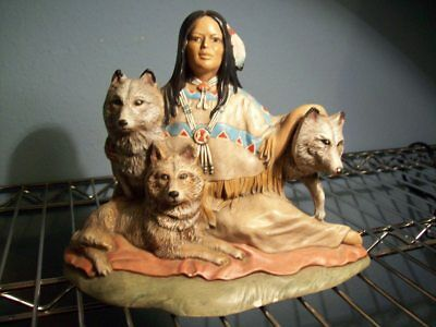 Native American Indian Woman And Wolves Ceramic Bisque Statue Figurine