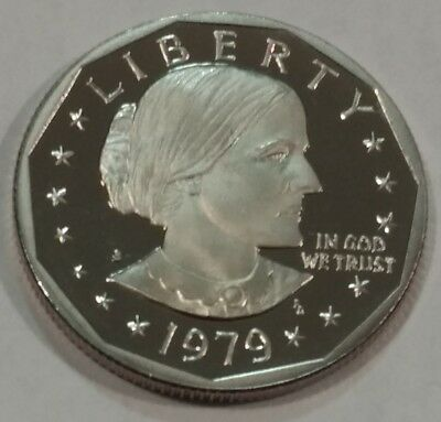 1979-S scarce Type 2 'CLEAR S' mintmark PROOF Susan B. Anthony dollar. SBA PF