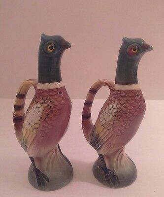"Antique Hand Painted Pheasant Salt & Pepper Shakers 4.5"" tall"