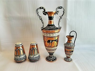 Copper Hand Made In Greece Painted Two Vases - Salt & Pepper Shakers - 4 Pieces