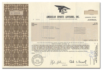 American Sports Advisors, Inc. Stock Certificate (Baseball Cards, Handicapping)