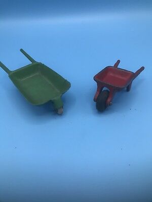 Vintage Cast Iron Arcade 474 Miniature Toy Wheelbarrow & Green metal wheelbarrow