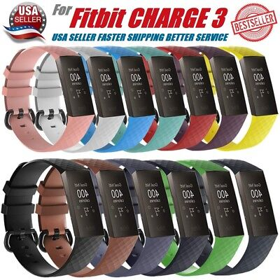 Replacement Silicone Sports Rubber Band Strap Wristband For Fitbit CHARGE 3