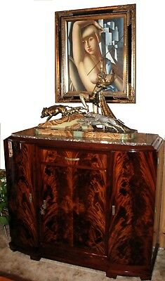 French Art Deco Sideboard with Limousin Sculpture