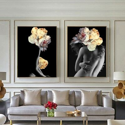 Posters Flowers Feather Nude Women Oil Painting Prints Canvas Wall Art Decor