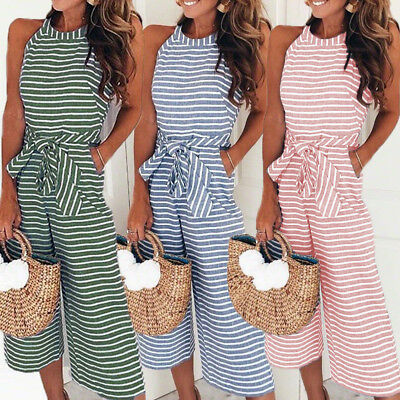 Womens Sleeveless Striped Jumpsuit Casual Clubwear Wide Leg Pants Outfit Rompers
