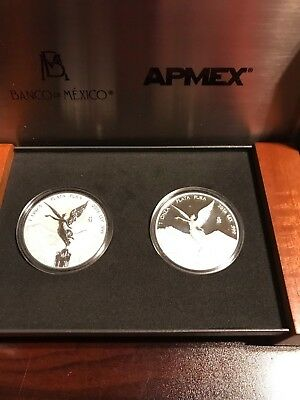 2016 Mexico 2 Coin Silver Libertad Proof/Reverse Proof Set Low Mintage #448
