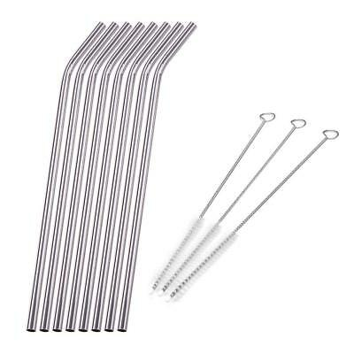 8Pcs Stainless Steel Metal Drinking Straw Straws with 3 Cleaner Brush Kit Tool