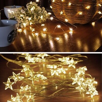 LED Star Copper Wire String Lights Love Heart Shape Festival Ornament Light QS
