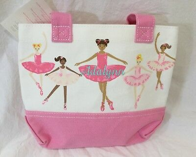 New Pottery Barn Kids BALLERINA  Canvas Mini Tote Bag Monogrammed ADALYNN