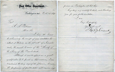 John A J Creswell Postmaster General 1869-74 signed letter dated Oct 24 1871