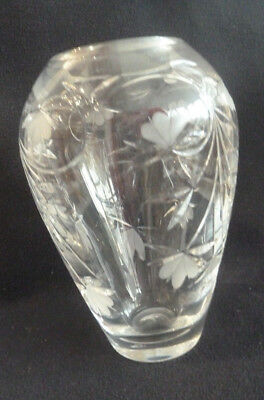 Large Royal Doulton Etched & Crystal Cut Glass Flower Vase Decorative Fuchsia