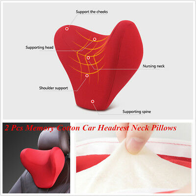 2 Pcs Red U Shape Memory Cotton Office Home Travel Car SUV Headrest Neck Pillows