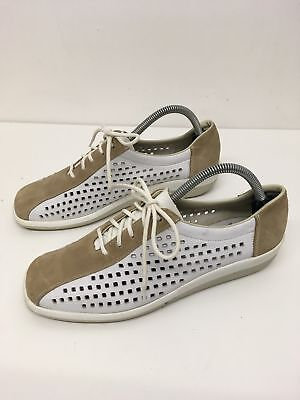 Womens Reiker White Leather Brown Suede Lace Up Comfort Trainers Shoes Uk 8