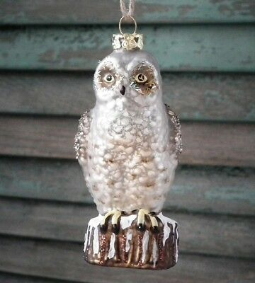 "CODY FOSTER ""Mercury"" Glass ~PERCHED OWL ORNAMENT~ New & Unused!"