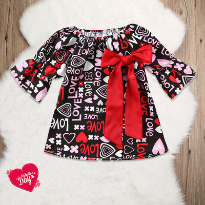 US Stock Toddler Baby Girls Valentine Day Love Printed Party Dress Clothes Tops