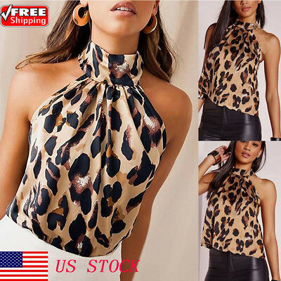 a7fe3db41794 Womens Sexy Halter High Neck Sleeveless Casual Leopard T-shirt Tank Top  Vest USA