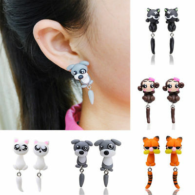 1Pair Fashion Jewelry Women's 3D Animal Cat Dangle Polymer Clay Ear Stud Earring